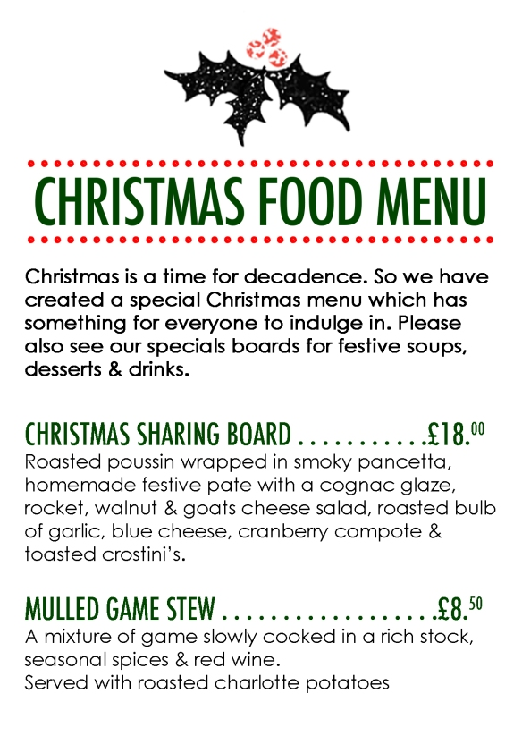 christmas food menu 2014