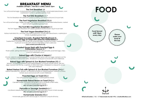 The Font Chorlton Food menu-1