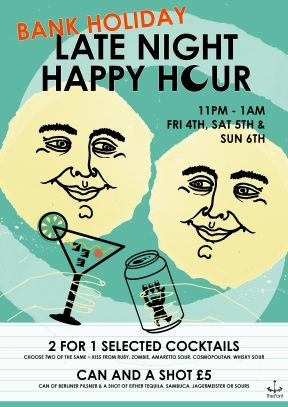 bank holiday late night happy hour april
