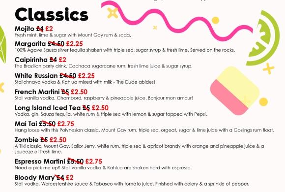 classic cocktails half price