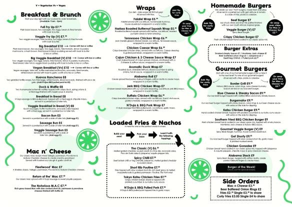mcr food menu online