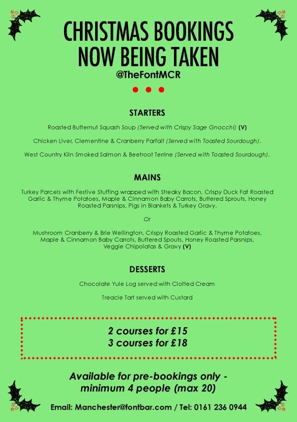 The Font Manchester christmas menu
